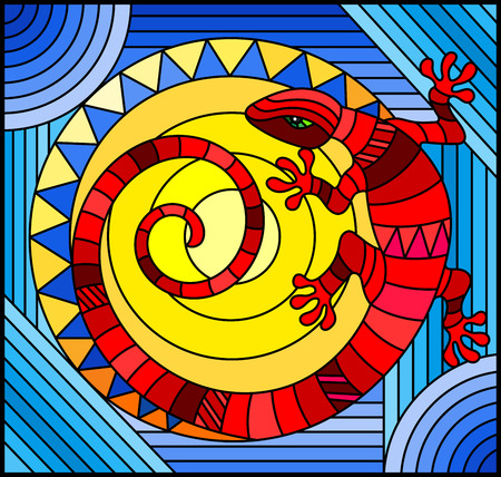 Illustration in stained glass style with abstract red lizard on a blue background with sun