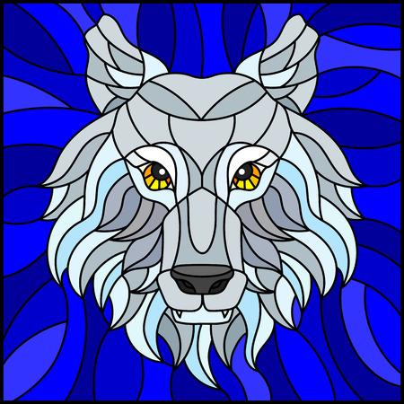 L'illustrazione in pittura in stile vetro colorato con una testa di lupo polare bianca, su sfondo blu, immagine quadrata Vettoriali