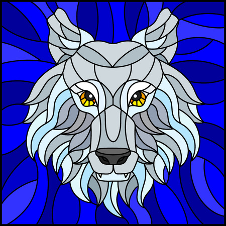 The illustration in stained glass style painting with a white polar wolf head , on blue  background, square image