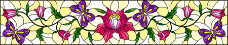llustration in stained glass style with abstract curly pink flower and a purple butterfly on yellow background , horizontal image Векторная Иллюстрация