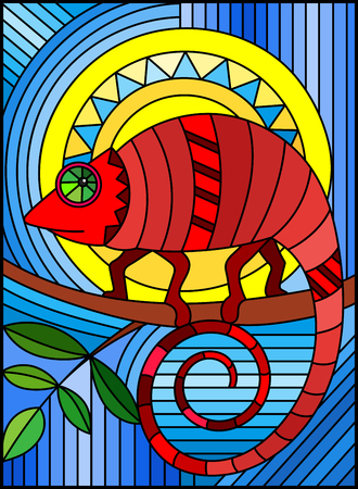 Illustration in stained glass style with abstract geometric red chameleon on a blue background with sun Illustration