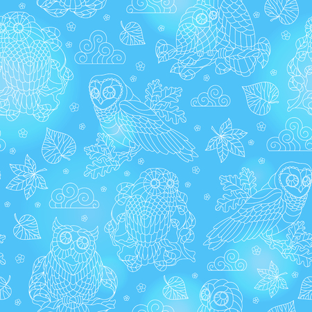 Seamless pattern with abstract owls, leaves and flowers, light  outline illustration on blue background