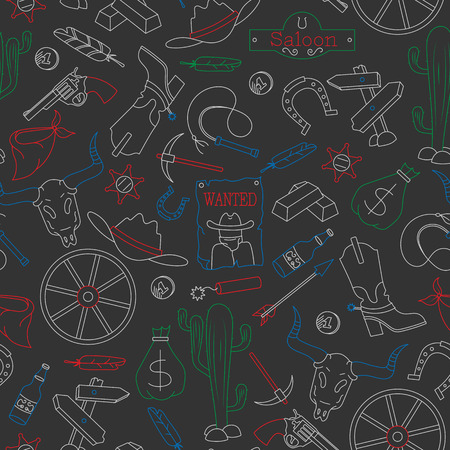 Seamless pattern on the theme of the wild West, contour icons, painted with colored chalks on the dark school Board