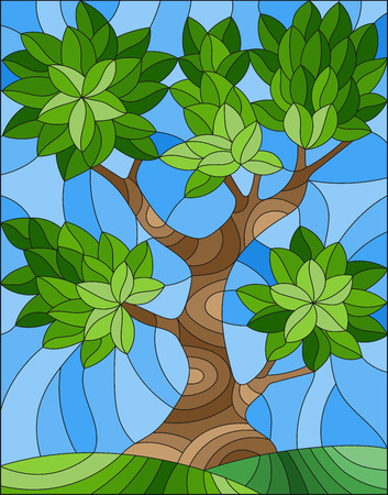 Illustration in stained glass style with abstract green tree on sky background and green hills
