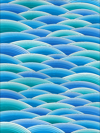 Illustration in stained glass style with abstract blue waves, imitation of waves