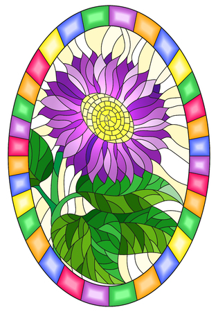 Illustration in stained glass style with purple flower on a yellow background in a bright frame, oval image