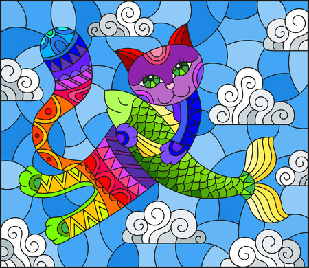 Stained glass illustration of a cartoon rainbow cat hugging a fish on the background of sky and clouds