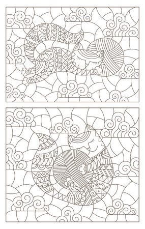 Set of contour illustrations of stained glass Windows with cute cartoon cats on a cloud background, dark contours on a white background Çizim