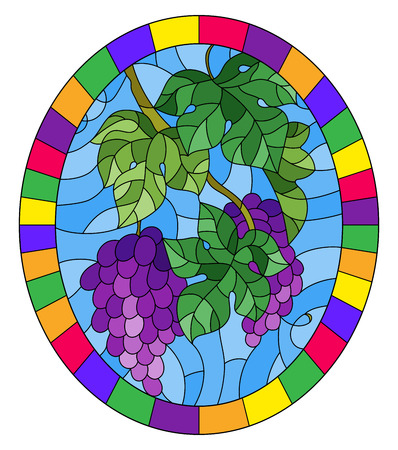 The illustration in stained glass style painting with a bunch of red grapes and leaves on a blue background, oval image in bright frame
