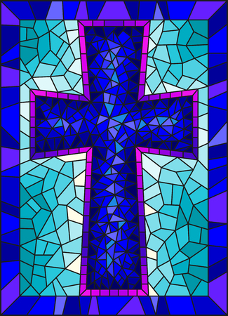 The illustration in stained glass style painting on religious themes, stained glass window in the shape of a blue Christian cross , on a blue  background with  frame  イラスト・ベクター素材
