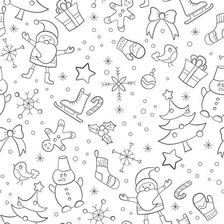 Seamless pattern on the theme of New year and Christmas, simple hand-drawn contour dark icons on a white background