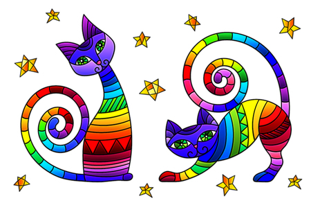 Set of stained glass elements with rainbow cats and stars, isolated images on white background