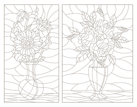 Set of contour illustrations of stained glass Windows with floral still lifes, bouquets of sunflowers and roses in vases, dark contours on a white background Foto de archivo - 113176209