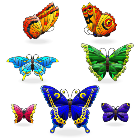 Set of bright abstract butterflies in stained glass style, isolated on white background