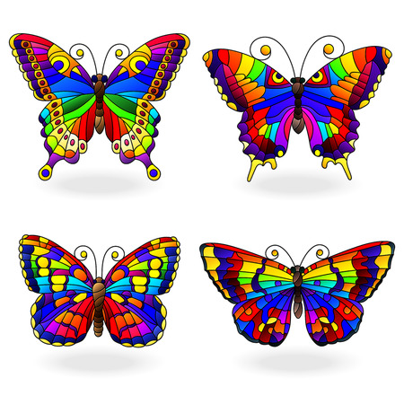 Set of bright abstract rainbow butterflies in stained glass style, isolated on white background Vettoriali