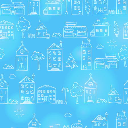 Seamless pattern with simple hand-drawn houses and trees ,outline sketches on a blue background Çizim