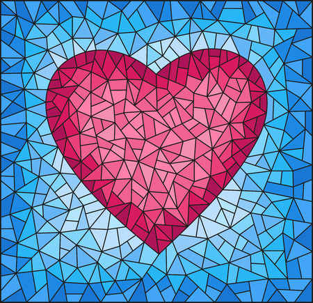 Illustration in stained glass style with abstract pink  heart on blue background, rectangular image Illustration