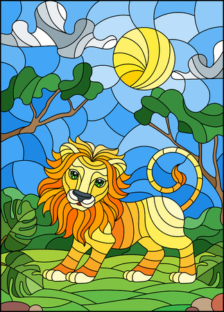 Illustration in stained glass style with cute lion on the background of green trees of cloudy sky and sun Illustration