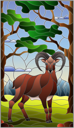 Illustration im Buntglasstil mit wildem RAM auf dem Hintergrund von Bäumen, Bergen und Himmel