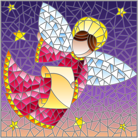 Illustration in the style of a stained glass window abstract angel in pink robe with a scroll in the sky and stars