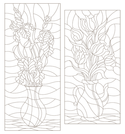 Set of contour illustrations of stained glass Windows with floral still lifes, bouquets of irises and tulips in vases, dark contours on a white background
