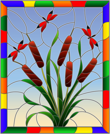 Illustration in stained glass style with bouquet of   bulrush and red dragonflies on a sky background ,in bright frame