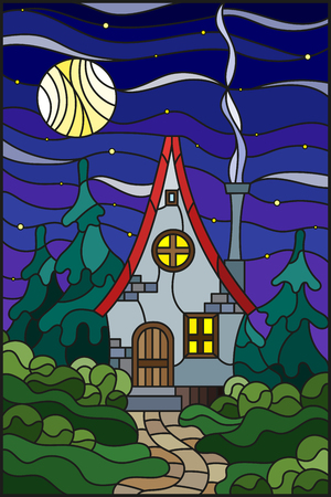 Illustration in stained glass style with a lonely house on a background of green forest. starry sky and the moon