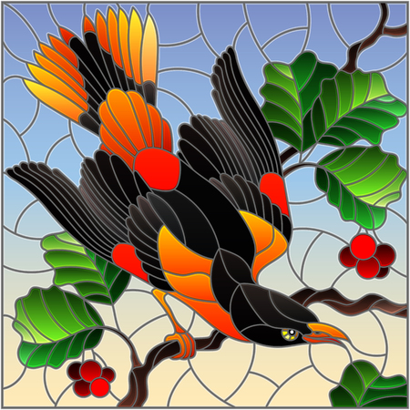 Illustration in the style of stained glass with a beautiful bright  bird  on a  background of branch of tree and sky Illustration