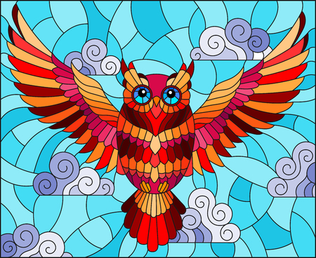 Illustration in stained glass style with abstract red owl flying on sky background with clouds