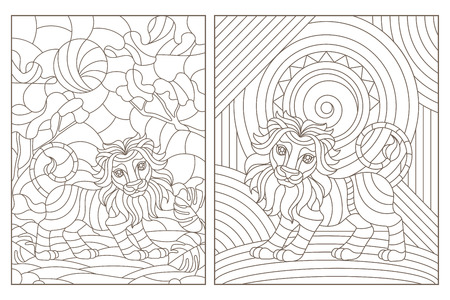 Set of contour illustrations of stained glass Windows with lions, dark contours on a white background Illustration