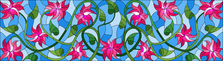 Illustration in stained glass style with intertwined pink flowers and leaves on blue background, horizontal orientation