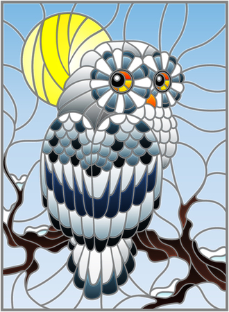 Illustration in stained glass style with white polar owl sitting on a tree branch against the sky and the sun Vectores