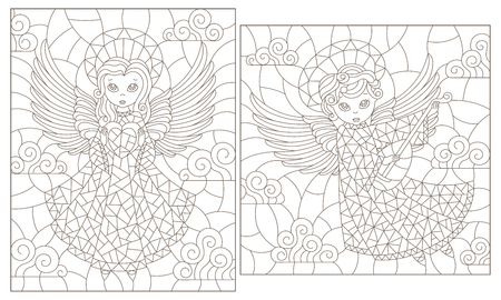 Set of contour illustrations of stained glass Windows with cute angels on a cloud sky background, dark contours on a white background Illustration