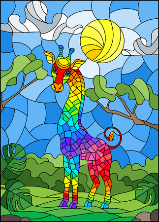 Illustration in stained glass style with cute rainbow giraffe on the background of green trees of cloudy sky and sun