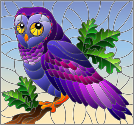 Illustration in stained glass style with fabulous colourful owl sitting on a tree branch against the sky Illustration