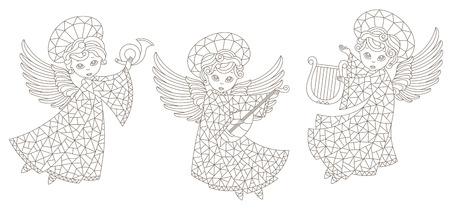 A set of stained glass angels , contour figures isolated  on a white background