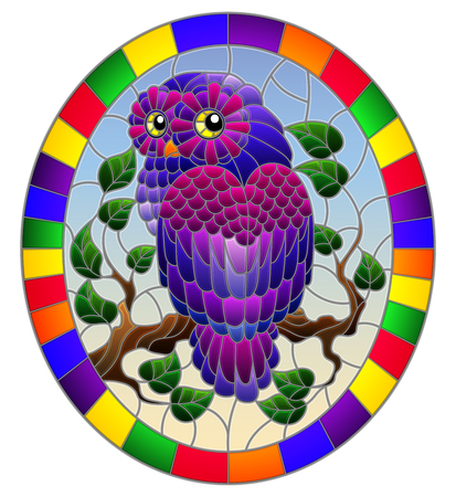 Illustration in stained glass style with fabulous purple owl sitting on a tree branch against the sky,oval picture frame in bright Ilustrace