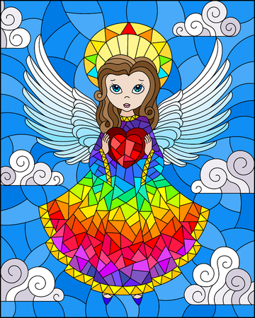 Illustration in stained glass style with cartoon rainbow angel with heart in hands against the cloudy sky