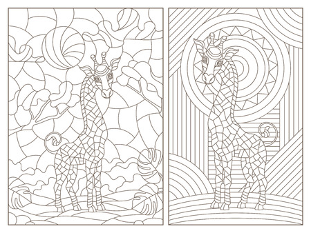 Set of contour illustrations of stained glass Windows with lions, dark contours on a white background Ilustrace