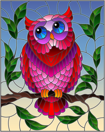 Illustration in stained glass style with fabulous pink owl sitting on a tree branch against the sky
