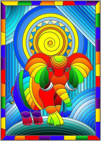 Illustrazione in stile di vetro colorato con elefante e sole arcobaleno divertente su sfondo astratto in cornice luminosa