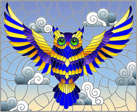 Illustration in stained glass style with abstract blue owl flying on sky background with clouds  Illustration