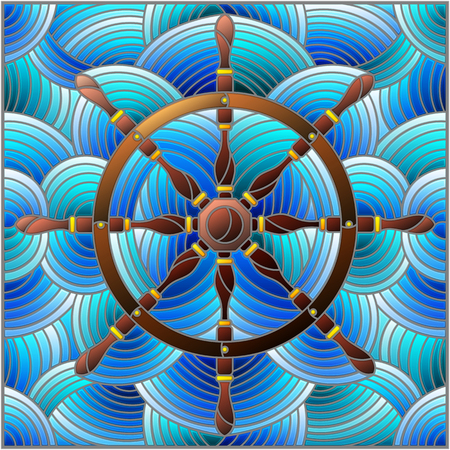 Illustration in stained glass style with ship steering wheel on the background of waves Illustration