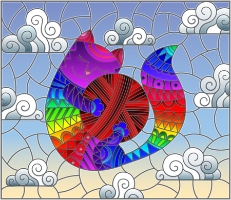 Stained glass illustration of a cartoon rainbow cat hugging a ball of yarn on the background of sky and clouds Ilustração