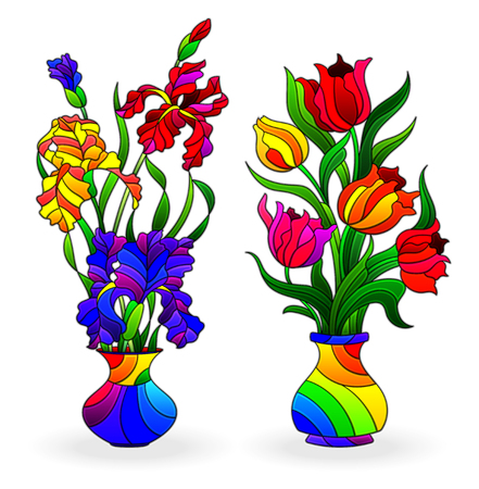 Set di elementi in vetro colorato, vasi con fiori, tulipani e iris in vasi luminosi, isolati su sfondo bianco