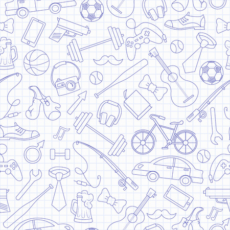 Seamless pattern on the theme of male Hobbies and habits,simple hand-drawn blue  contour  icons on the clean writing-book sheet in a cage Vectores