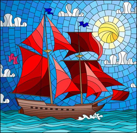Illustrazione nello stile del vetro macchiato con una vecchia nave che naviga con le vele rosse contro il mare, il sole e il cielo, vista sul mare