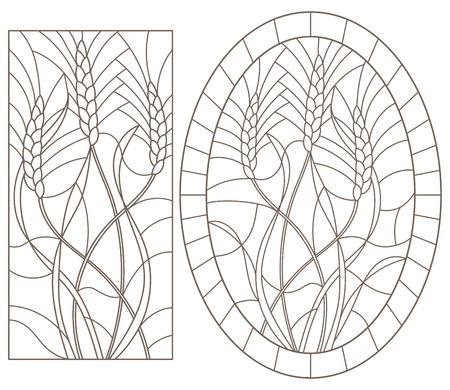 Set di illustrazioni di contorno di vetro colorato con germe di grano, immagine ovale e rettangolare, contorni scuri su sfondo bianco Vettoriali