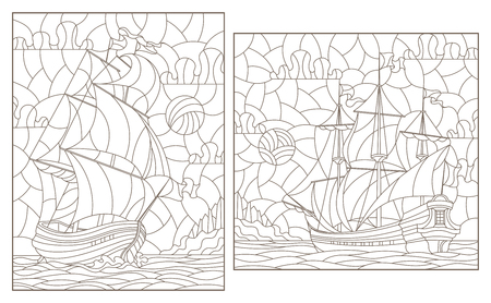 Set contour illustrations of stained glass, seascape, ships sailing on the background of the cloudy sky and the sun, dark contours on white background Illustration