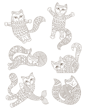 Set of stained glass contour elements with rainbow cats , isolated outline images on white background